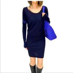 Athleta Azalia blue colorblock merino wool dress